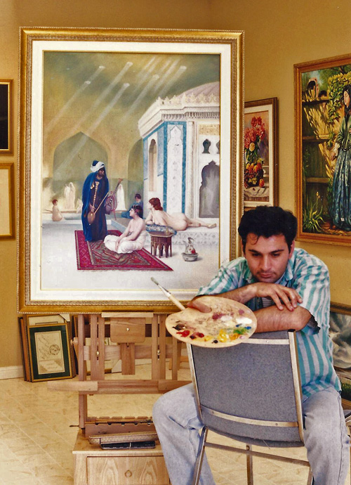 Amir and his paintings.